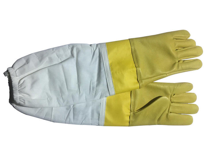 #13 Yellow  Goat Skin  And Smoothy Leather Wrist Protector  And White Cloth Sleeve   Bee Glove